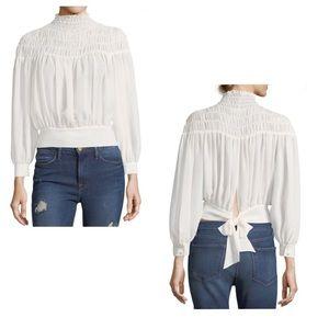 FRAME off white Smocked tie back blouse